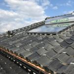太陽熱温水器取付、屋根瓦止め、漆喰修繕工事
